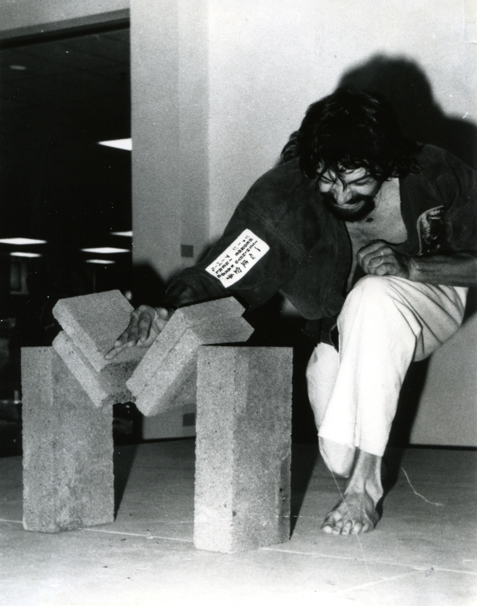Breaking cement blocks 1970s