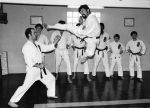 Demonstrating a side kick with Jim Clark.